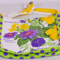 Unique  One of  Kind Upcycled Tea Towel Bag - Bright Tropical Flowers