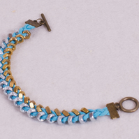 Turquoise Suede and Two Tone Hex Nut Braided Bracelet