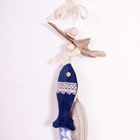 Cornish Driftwood and Upcycled Denim Fish Hanging - Lace Accents