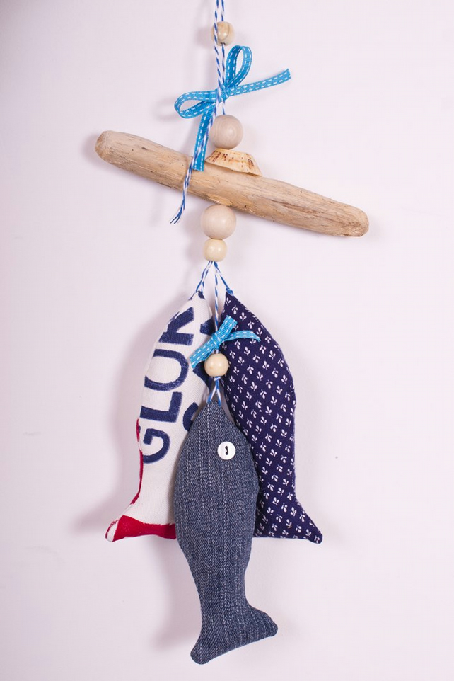 Cornish Driftwood and Upcycled Denim Fish Hanging - Turquoise Accents