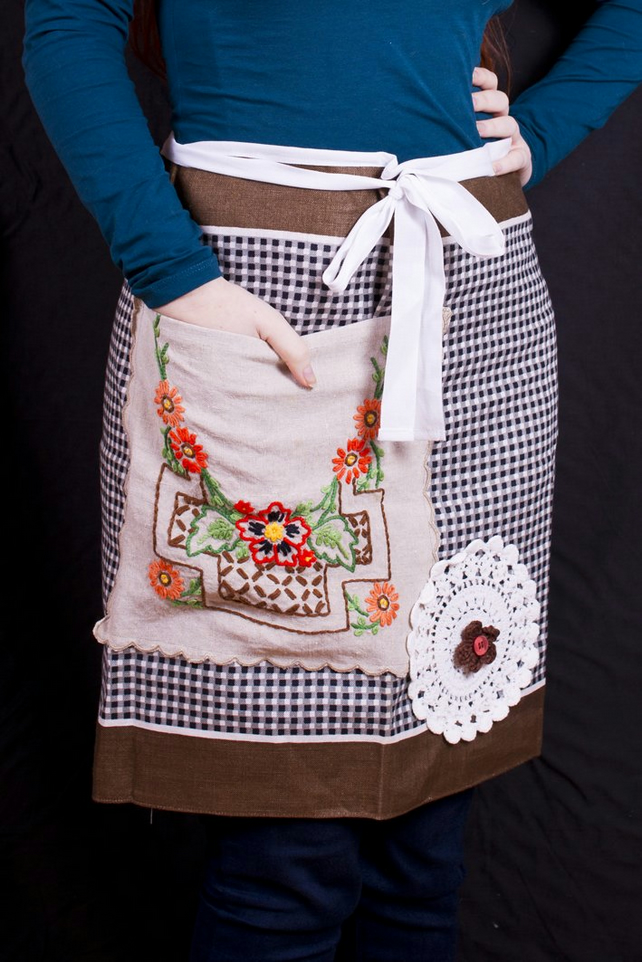 One of a kind upcycled tea towel barista style apron