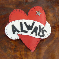 Leather Brooch - Valentine - Always Tattoo Heart