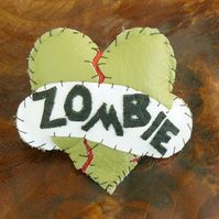 Leather Brooch - Zombie Love - Alternative Valentine