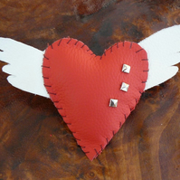 Leather Brooch -  Valentine - Wings of Love