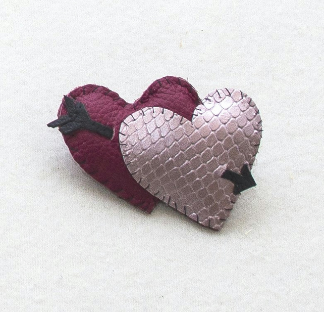 Two Hearts - Valentine - Tattoo Inspired Stitched Leather Brooch