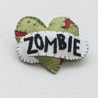 Zombie Love 2 - Alternative Valentine -  Leather Tattoo Heart Brooch