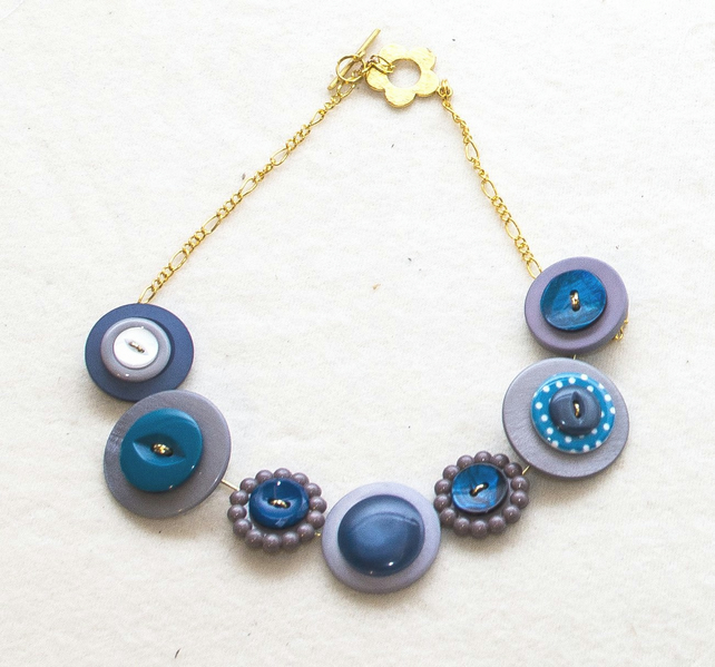 Atlantic Depths Button Necklace