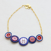 Nicely Nautical Button Necklace