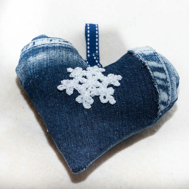 Recycled denim hanging heart Christmas decoration