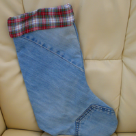 """Cowboy"" denim Christmas stocking made from recycled jeans"