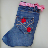 """Cowboy""  Christmas stocking made from recycled denim jeans"