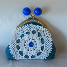 Denim and Doily Kiss Lock Fastening Coin Purse made from Upcycled fabric
