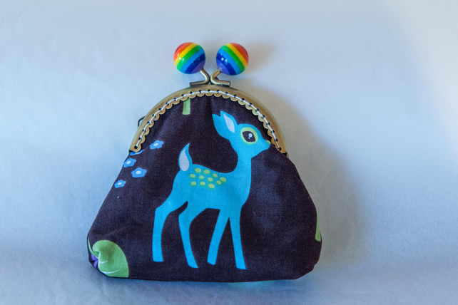 One of a Kind Kiss Lock Fastening Coin Purse - Retro Deer Design