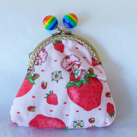 One of a Kind Kiss Lock Purse with Retro Strawberry Shortcake Design