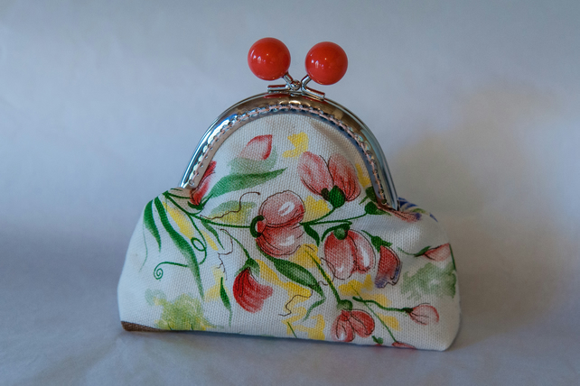 One of a Kind Kiss Lock Fastening Coin Purse made from Upcycled fabric