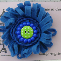 Blue Felt Corsage Brooch with Button and Zip Centre