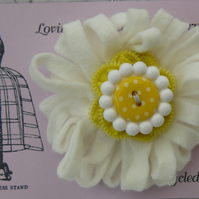 White and Yellow Felt and Recycled Zip Corsage Brooch