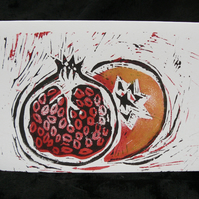 Lino Cut Greetings Card - Pomegranate design - Christmas or New Home