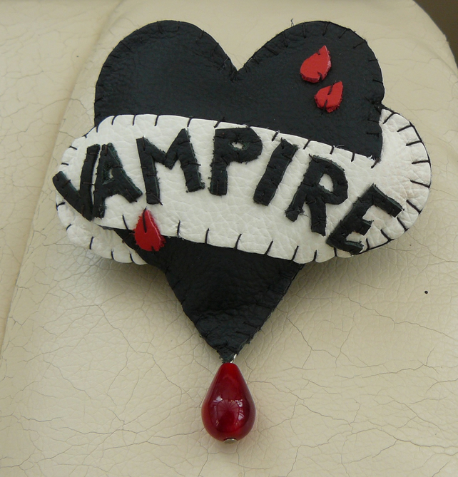 Hand Stitched Leather Tattoo Style vampire Heart Brooch - Alternative Valentine