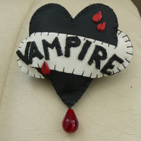 Hand Stitched Leather Tattoo Style vampire Heart Brooch
