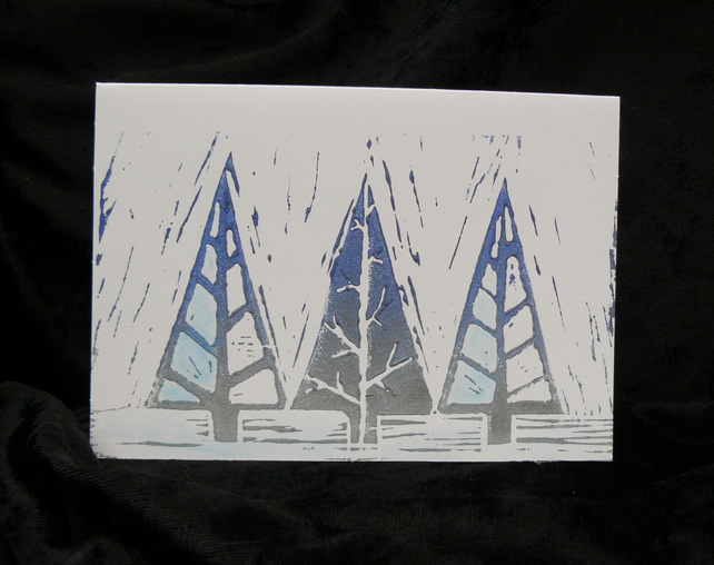 Lino Print Christmas Card - Frosty Pines design