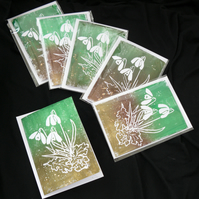 Lino Print Greetings Card - Snowdrop Design - Birthday or Easter Card