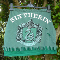 Ladies Upcycled T-shirt Skirt - Harry Potter - Slytherin - Approx size 8-10