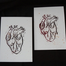 Hand Cut Linoprint Anatomical Heart - Alternative Wedding or Engagement Gift?