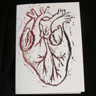 Linocut Greetings Card - Anatomical Heart - Birthday, Wedding, Anniversary Card?