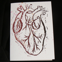 Linocut Greetings Card - Anatomical Heart - Valentine, Wedding, Anniversary Card