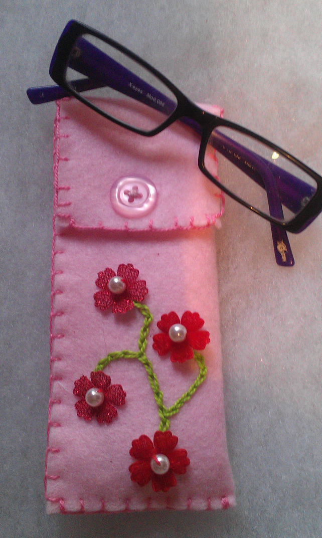 hand embroidered felt glasses case