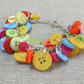 Multi coloured Rainbow Button Bracelet - Silver Tone Chain - Button Jewellery