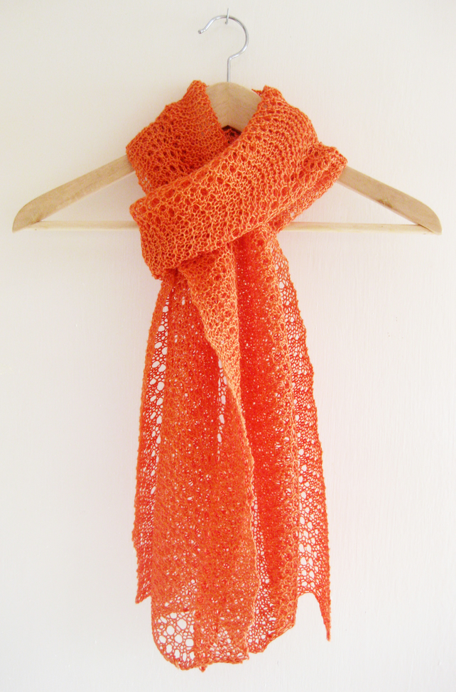 Hand knit recycled linen shawl or scarf in tangerine orange feather and fan lace
