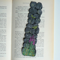 Wall bookmark - textile art, mixed media, machine embroidery