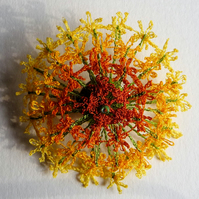 Shaded Yellow flower brooch - textile, machine embroidery, dissolvable fabric