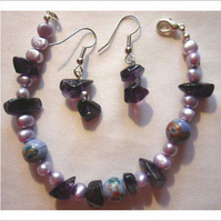 Amethyst and FW Pearl Bracelet and E-R Set