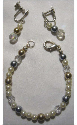 Child's Faux Pearl Bracelet and Earring Set