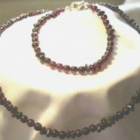 Garnet Necklace and Bracelet Set