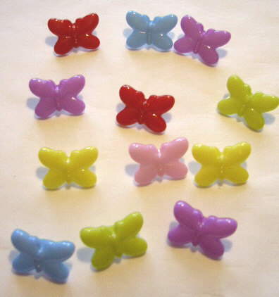 12 Colourful Plastic Butterfly Buttons