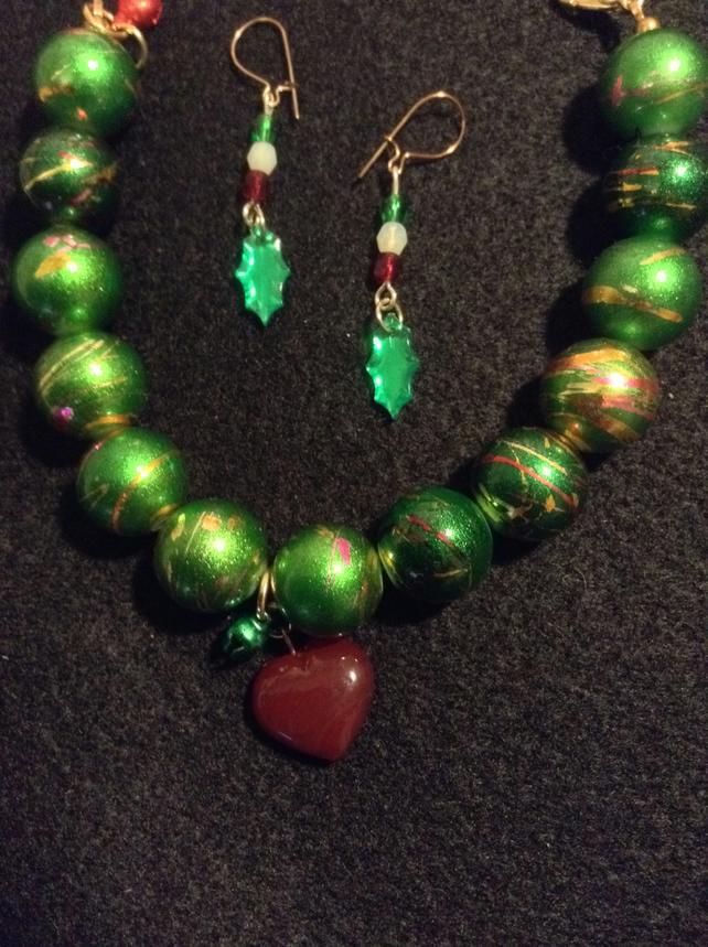 Handmade Red, Green & Gold Beads Christmas,  Bracelet Earring Set