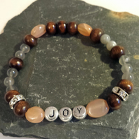 Inspirational Message Bracelet,Moonstone Bracelet,JOY,Wooden beads bracelet, Yog
