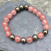 Handmade Cherry Quartz-Strawberry Quartz and Pyrite Bracelet - positivity,mala