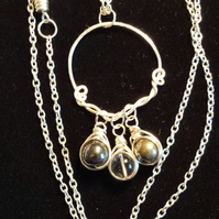 Handcrafted Wire Wrapped Pyrite,Hematite & Clear Beads Trio Pendant