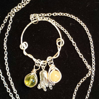 Handcrafted Wire Wrapped Peach Aventurine,Peridot Beads & Tassel Pendant