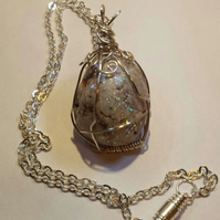 White Mottled Stone Handcrafted Wire Wrapped,Dawlish English Sea Rock Pendant
