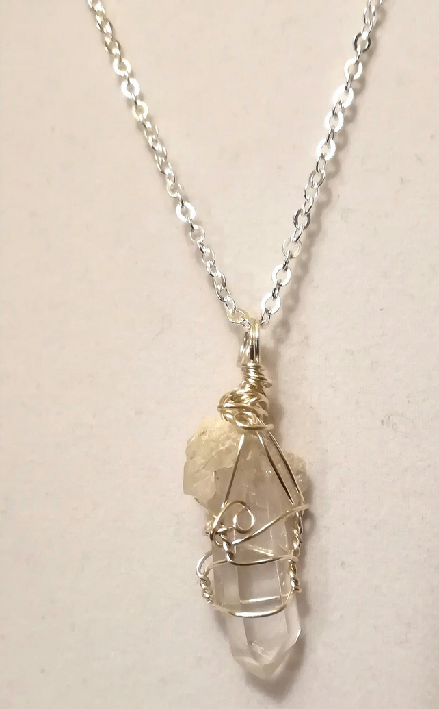 Unique Quartz Crystal Wire wrapped pendant -main crystal with smaller ones on it