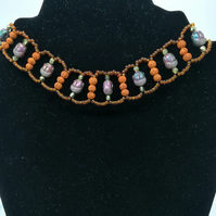 Handcrafted  Rudraksha,Electroplated Hematite,Yellow quartz and seed bead choker