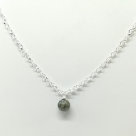 Handcrafted WireWrapped Preseli Bluestone Minimalist,Single Bead Pendant, Gift