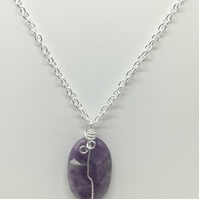 Handcrafted Wire Wrapped Amethyst,Minimalist,Single Bead pendant,Spirituality