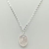 Handcrafted Wire Wrapped Rose Quartz,Minimalist,Single Bead pendant,gift for her